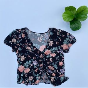 American Eagle Floral Cinch-Front V-Neck Top